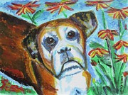Boxer Paintings - Sweet Ginger by Diane Pape