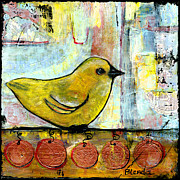 Mixed Media Art Paintings - Sweet Green Bird by Blenda Studio