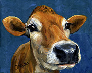 Cows Paintings - Sweet Jersey Cow by Dottie Dracos