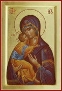 Icon Byzantine Painting Framed Prints - Sweet Kissing Mother of God Framed Print by Julia Bridget Hayes