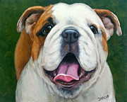 English Bulldog Paintings - Sweet Little English Bulldog by Dottie Dracos