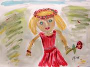 Primitive Drawings - Sweet Little Flower Girl by Mary Carol Williams
