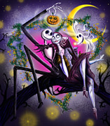 Pumpkins Posters - Sweet loving dreams in Halloween night Poster by Alessandro Della Pietra