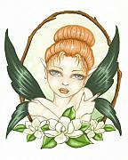 Fantasy Painting Metal Prints - Sweet Magnolia Fae Metal Print by Elaina  Wagner