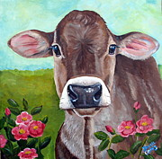 Steer Framed Prints - Sweet Matilda Framed Print by Laura Carey