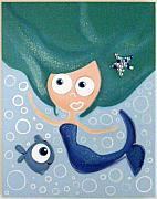Extinct And Mythical Pastels Originals - sWEET mERMAiD by Mara Morea