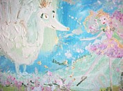 Tiara Paintings - Sweet Pea and the Peacock Queen by Judith Desrosiers