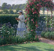 Colorful Floral Gardens Paintings - Sweet Solitude by Edmund Blair Leighton