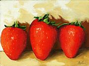 Linda Apple Painting Metal Prints - Sweet Strawberries - food still life Metal Print by Linda Apple
