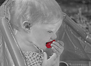 Kid Eating Snack Prints - Sweet Strawberry Print by Valerie Garner