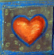 Blue Reliefs Framed Prints - Sweet Tangarine Heart Framed Print by Jane Clatworthy