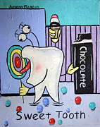 Tooth Mixed Media Prints - Sweet Tooth Print by Anthony Falbo