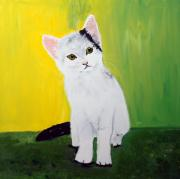 Paws Painting Originals - Sweet White Kitten by Jean Fitzhugh