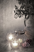 Candlelight Prints - Sweet williams sepia Print by Jane Rix