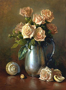 Autograph Painting Framed Prints - Sweetheart Roses Framed Print by Lyndall Bass