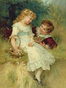 Basket Framed Prints - Sweethearts Framed Print by Frederick Morgan