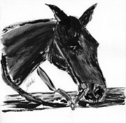 Western Pencil Drawings Prints - Sweetie - black horse painting Print by Gunilla Wachtel