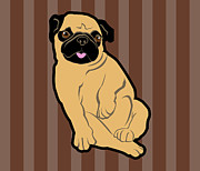 Pug Digital Art Posters - Sweetie Pug Poster by Mary Ogle
