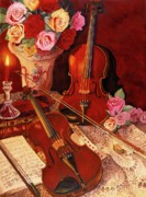Violins Paintings - Sweetly played in tune by Carol VonBurnum