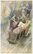 Fairies Posters - Sweetly singing round about they bed Poster by Warwick Goble