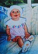 Toddler Portrait Paintings - Sweetness On A Couch by Hanne Lore Koehler