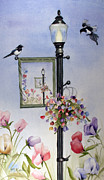 Magpies Tapestries Textiles - Sweetpea Magpies by Marsha Karle