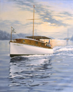 Cruiser Painting Posters - Swell Poster by Richard De Wolfe