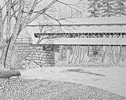Snow-covered Landscape Drawings Originals - Swift River Bridge by Tim Murray