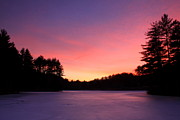 Connors Framed Prints - Swift River Connors Pond Winter Sunset Framed Print by John Burk