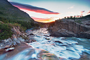 Park Scene Posters - Swiftcurrent Creek Sunrise Poster by Scott Pudwell Photography