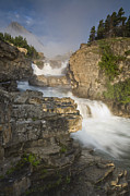 Swiftcurrent Falls Prints - Swiftcurrent Falls And Mount Grinnell Print by Sebastian Kennerknecht