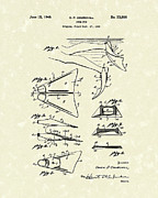 Antique Artwork Drawings Framed Prints - Swim Fin 1948 Patent Art Framed Print by Prior Art Design