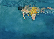 Deep Painting Posters - Swimmer in Yellow Poster by Gareth Lloyd Ball