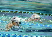 Sports Art Pastels Framed Prints - Swimmers Framed Print by Paul Mitchell