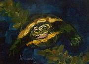 Green Sea Turtle Paintings - Swimming Alone by Angela Sullivan