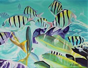Snorkeling Painting Originals - Swimming Among the Tropical Fish by Terri Thompson