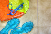 Rubber Prints - Swimming gear Print by Carlos Caetano