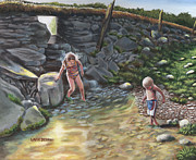 Swimming Hole Paintings - Swimming Hole by Wayne Beeman