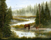 Horse Posters Paintings - Swimming Lessons by Ellen Strope