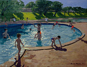 Summer Vacation Painting Framed Prints - Swimming Pool Framed Print by Andrew Macara