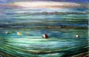 North Sea Paintings - swimming to Osea by Peter Rodulfo