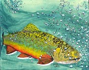 Rainbow Trout Mixed Media Prints - Swimming Upstream Print by Sheryl Brandes