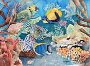 Exotic Fish Paintings - Swimming With Friends by Arline Wagner