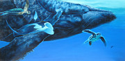 Green Sea Turtle Paintings - Swimming with Gaints by Durwood Coffey