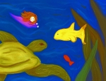 Fish Underwater Pastels - Swimming with Sea Turtles by Christine Crosby
