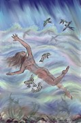 Trout Drawings - Swimming with Swallows - Dream Series 8 by Dawn Senior-Trask