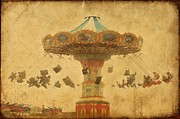 Amusement Parks Posters - Swing Chair Ride At Jenkinsons Boardwalk - Jersey Shore Poster by Angie McKenzie