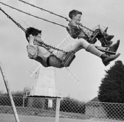 Child Swinging Art - Swing High by Erich Auerbach