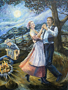Swing Paintings - Swing Lady Home by Paula Blasius McHugh