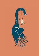Elephant Art Prints - Swing Swing Print by Budi Satria Kwan